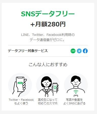 LINE モバイル SNS データフリー