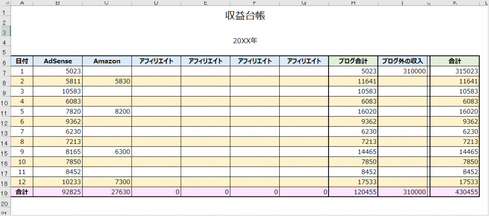 Excel 収益台帳の使い方