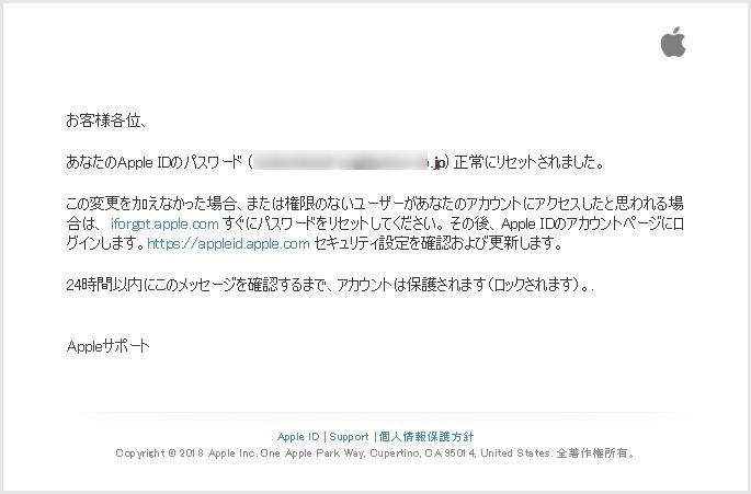 Apple偽の詐欺メール