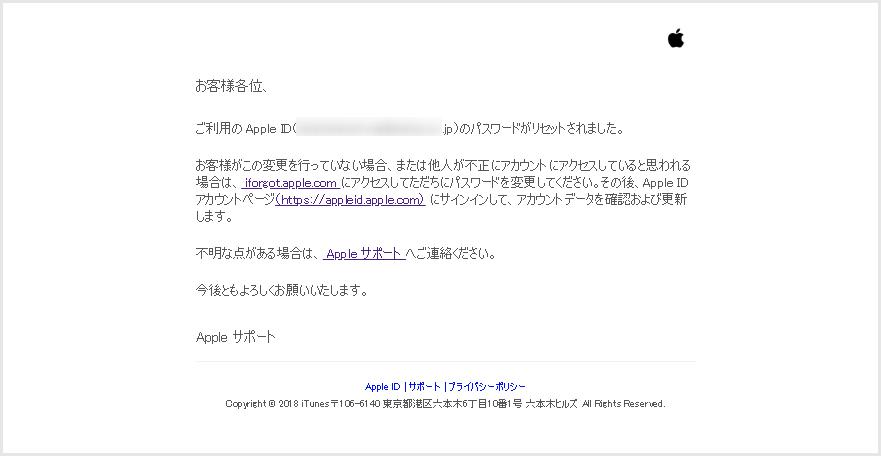 ご利用の Apple ID のパスワードがリセットされました