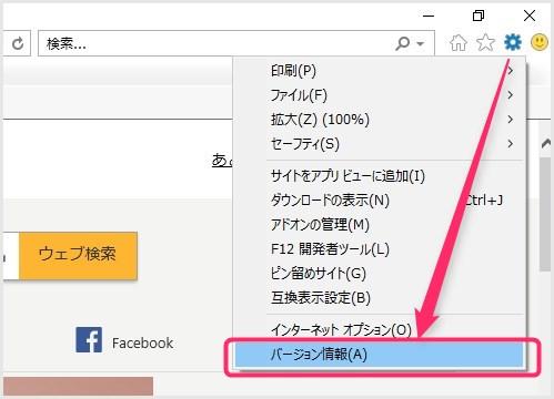 Internet Explorer のバージョン情報確認手順