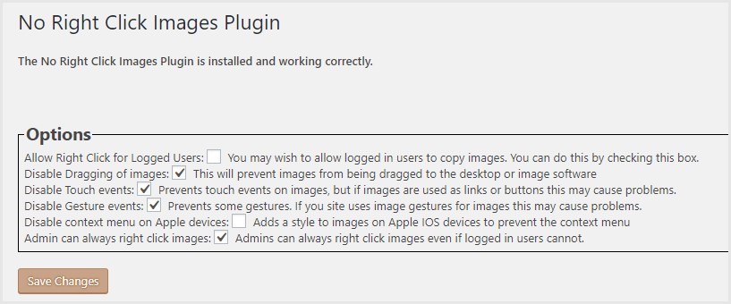 No Right Click Images Plugin の禁止事項の設定手順