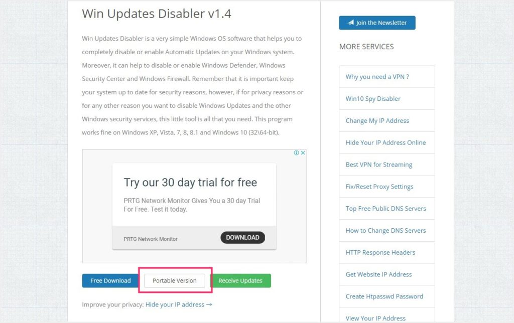 「Win Updates Disabler」のダウンロード方法