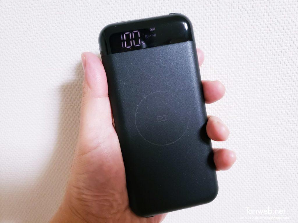 置くだけ充電 Qi 対応おすすめモバイルバッテリー!ケーブル内臓なのでズボラを満たす容量10000mAh!!