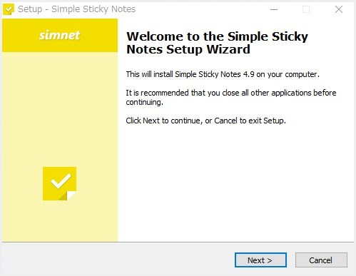 付箋フリーソフト「Simple Sticky Notes」のインストール02