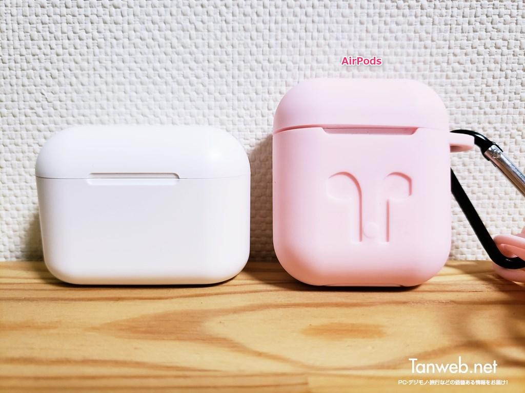 インナーイヤー型Bluetoothイヤホン「T1」AirPods とのサイズ比較01
