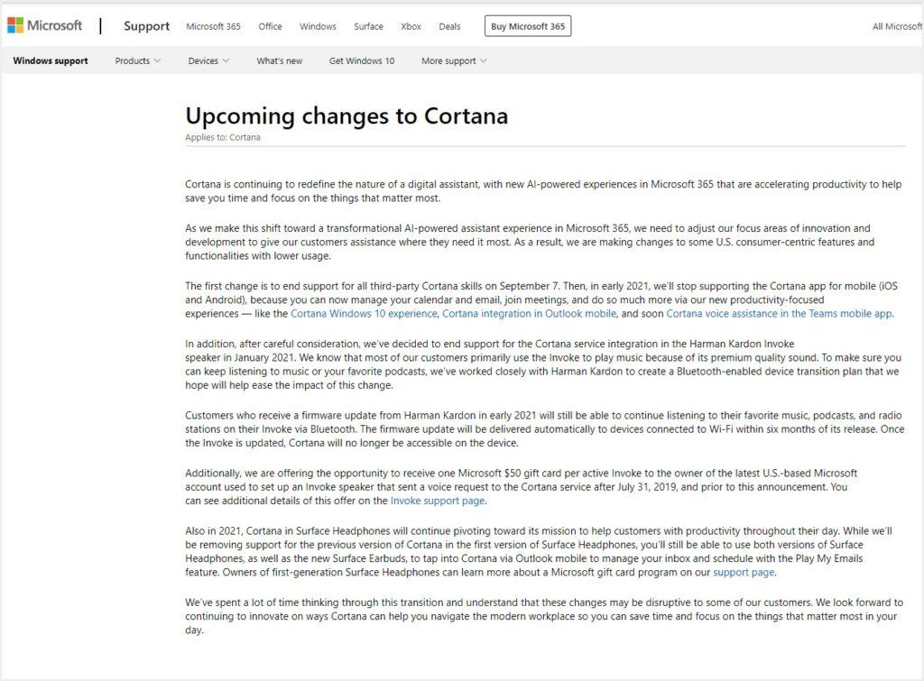 Cortana終了の発表(公式ページ)