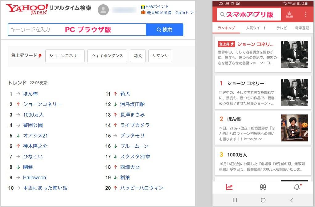 Yahoo! リアルタイム検索はブラウザ版とアプリ版がある