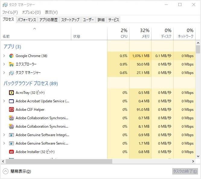 Windows のタスクマネージャーを起動方法