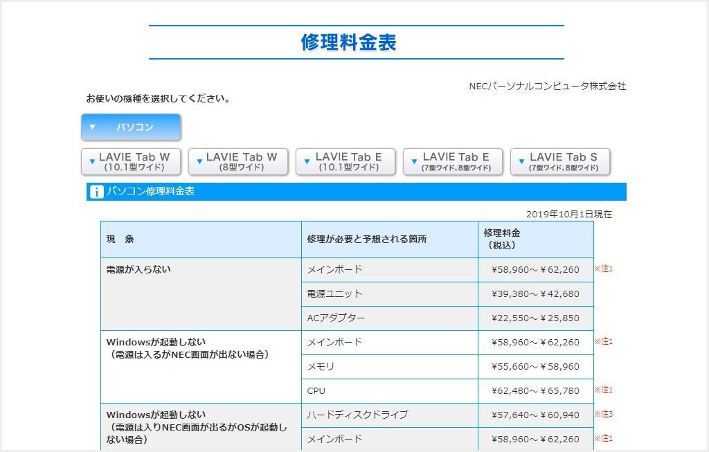 NEC パソコン修理料金表