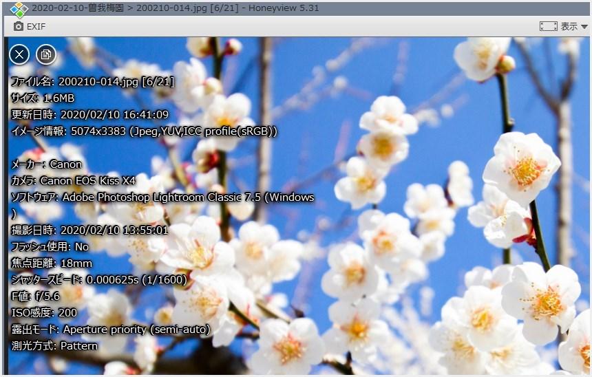 カメラ撮影写真であれば詳細な EXIF 情報を確認できる02