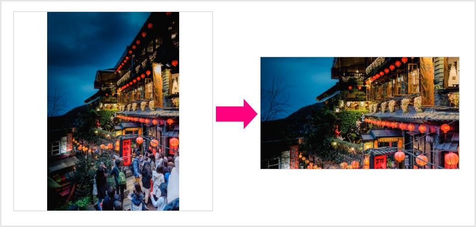 サムネイル画像は背景設定にしてアスペクト比を維持します