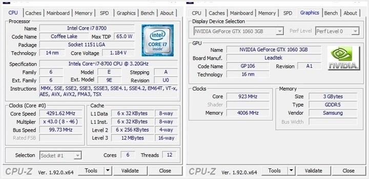 CPU-Z CPU 情報とグラフィックボード情報