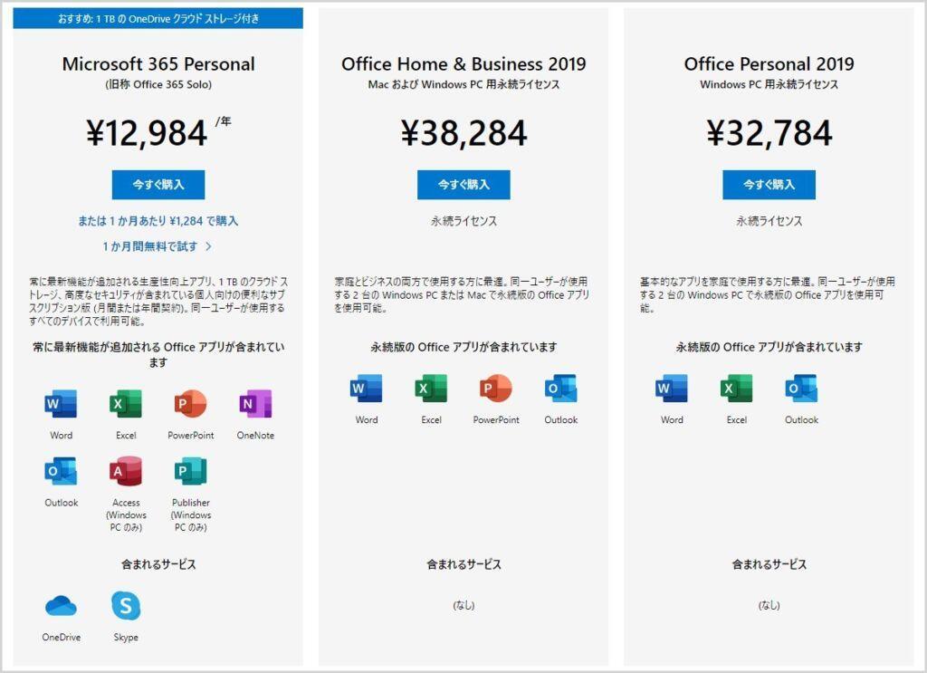 Office 製品の価格