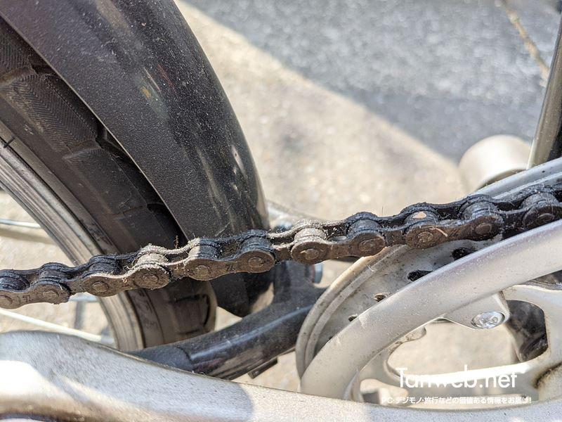 汚れきった自転車のチェーン