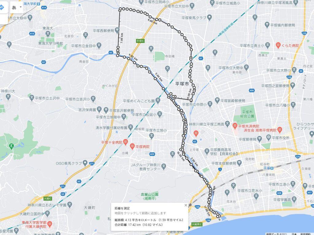 金目川サイクリングコースの全長01