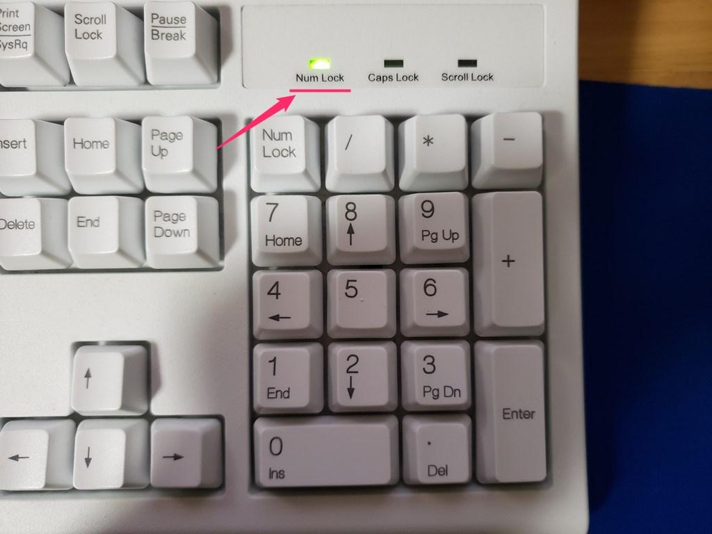 テンキー入力の有無は「Num Lock」ランプで確認できる01