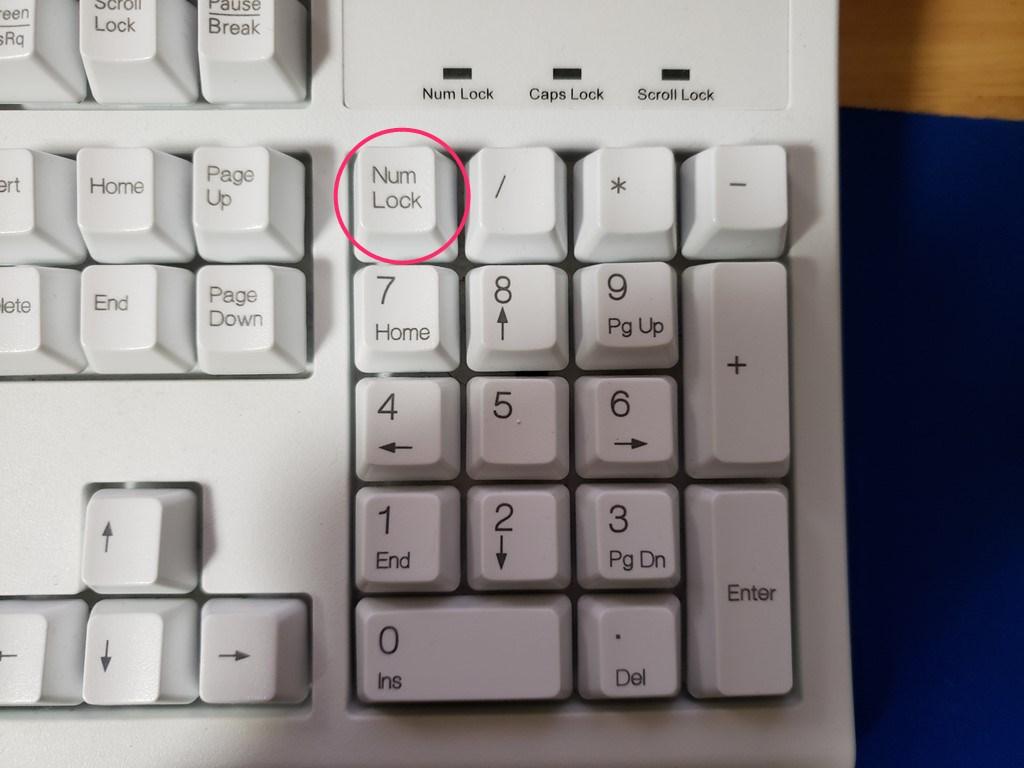 テンキー入力の有無は Num Lock キーで切替可能です