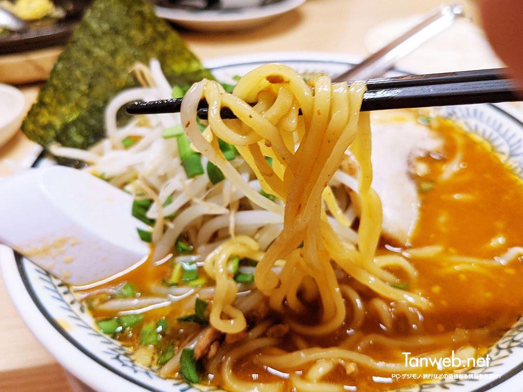 丸源ラーメン「熟成味噌ラーメンの麺」