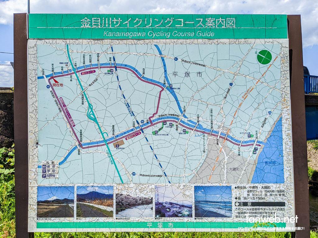 金目川サイクリングコース案内板