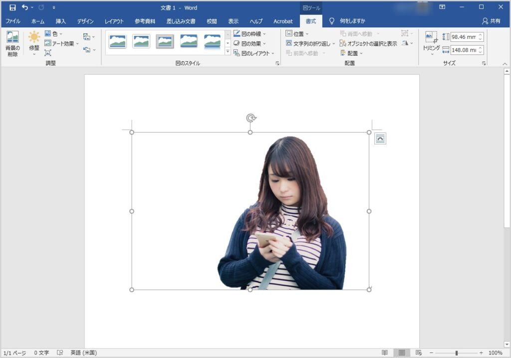 Word 背景を削除&部分切り取りをして透過画像を作成する手順12
