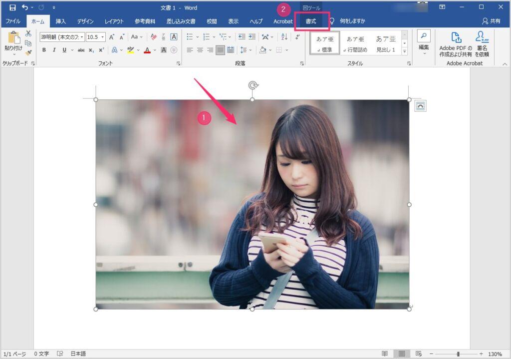 Word 背景を削除&部分切り取りをして透過画像を作成する手順02