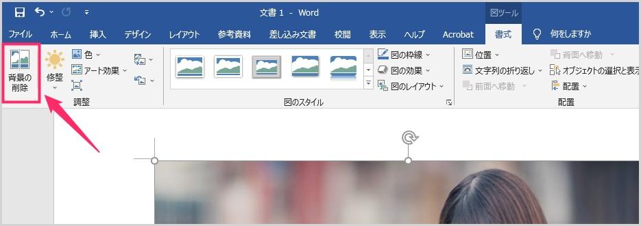 Word 背景を削除&部分切り取りをして透過画像を作成する手順03