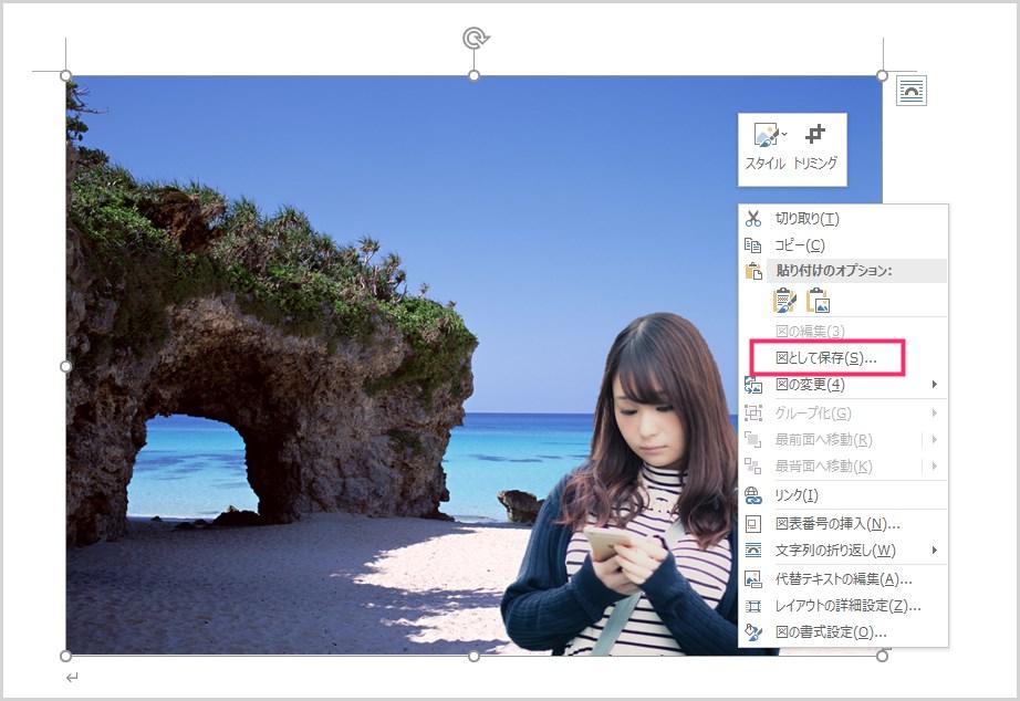 Word で作成した合成写真を JPG 画像で保存する手順04