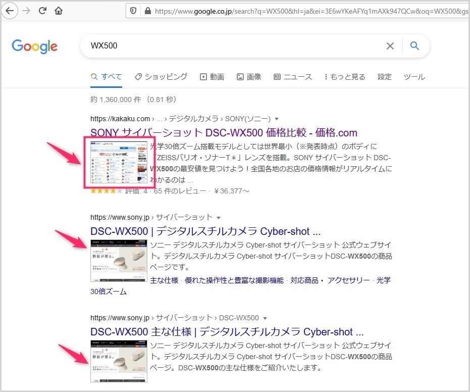 SearchPreview を導入した Google 検索結果