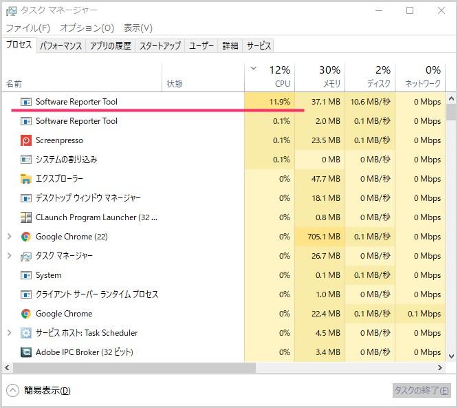software reporter tool による CPU 負荷